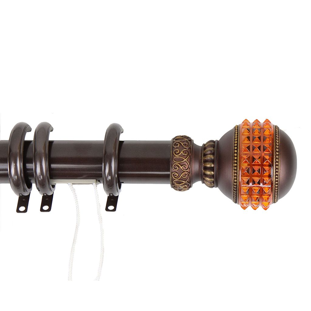 Rod Desyne Faux-Gemstone Traverse Adjustable Curtain Rod & Rings