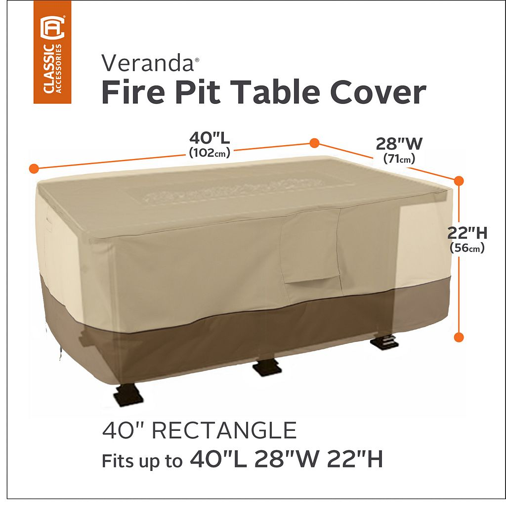Veranda 40-in. Rectangular Fire Pit Table Cover