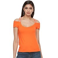 Petite Jennifer Lopez Beaded Cold-Shoulder Tee