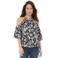 Juniors' IZ Byer California Floral Cold Shoulder Top