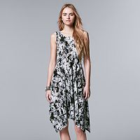Petite Simply Vera Vera Wang Printed Pleated Dress