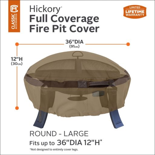 Hickory Large Round Fire Pit Cover
