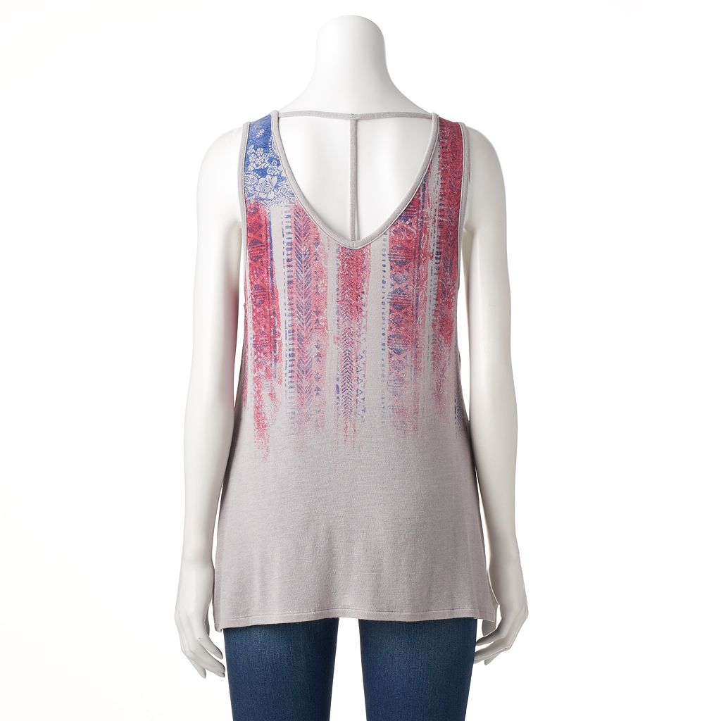 Women's Rock & Republic® Strappy Abstract Flag Tank