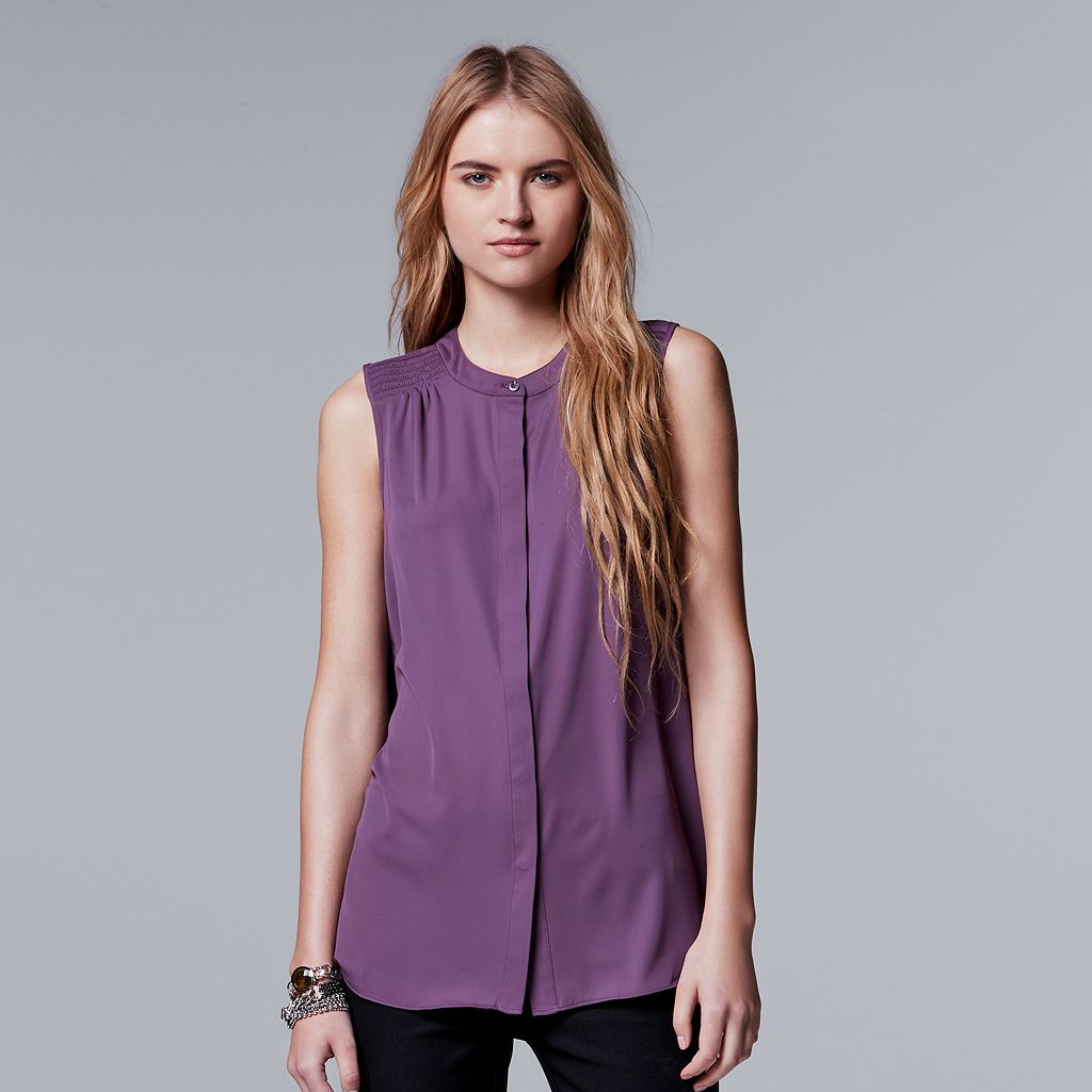 Petite Simply Vera Vera Wang Smocked-Shoulder Sleeveless Shirt