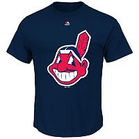 Big & Tall Majestic Cleveland Indians Large Logo Tee