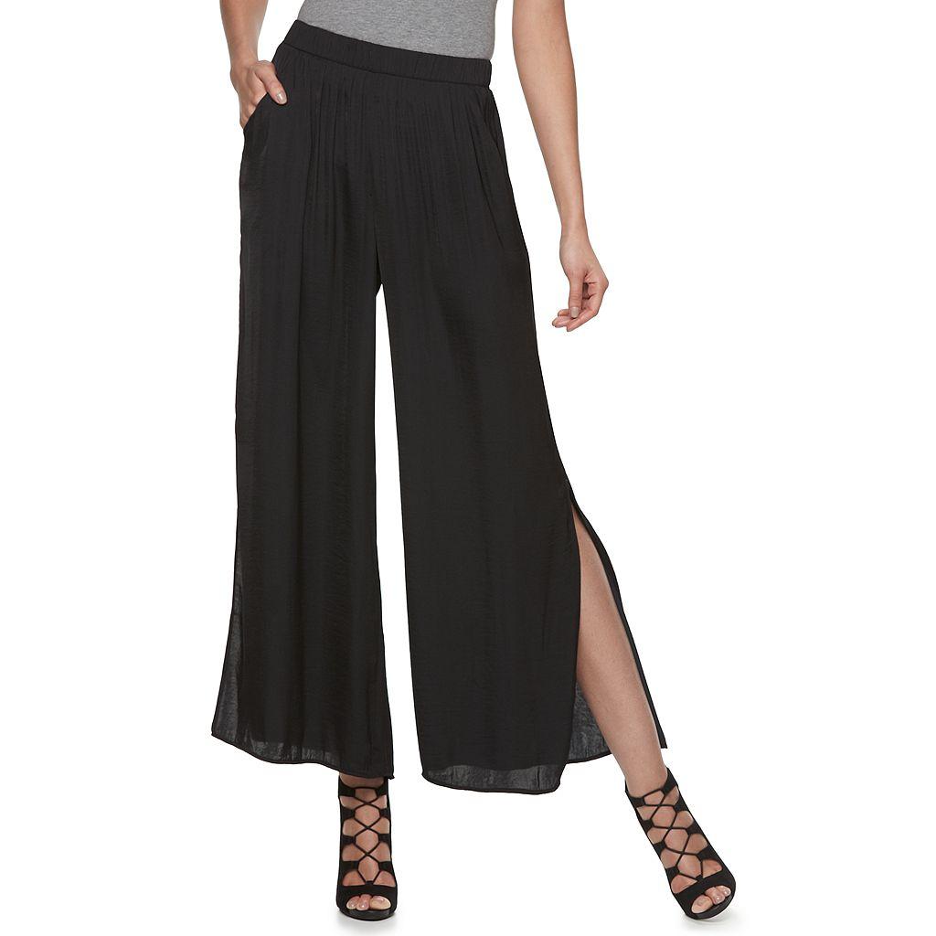 Petite Jennifer Lopez Vented Wide-Leg Soft Pants
