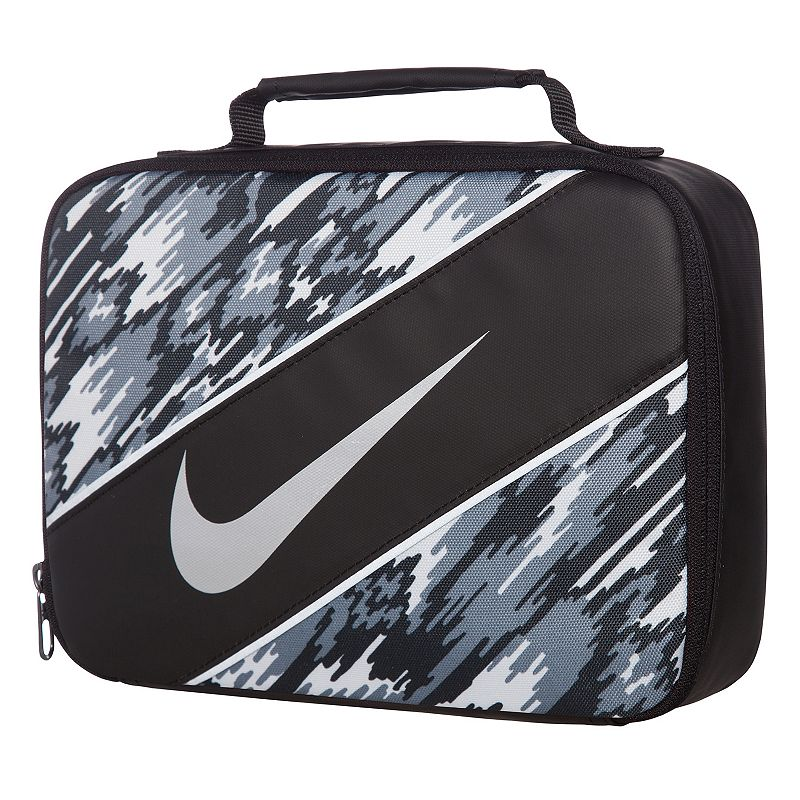 Nike Reflect Lunch Tote, Black Grab and go with this Nike lunch tote, so your lunch goes wherever you need it to. Insulated main compartment keeps items hot or cold Padded handle 7.5 H x 10 W x 3 D Weight: 0.4 lbs. Polyester, Peva Model no. 9A2663A Size: Onesize. Color: Black. Gender: Unisex.