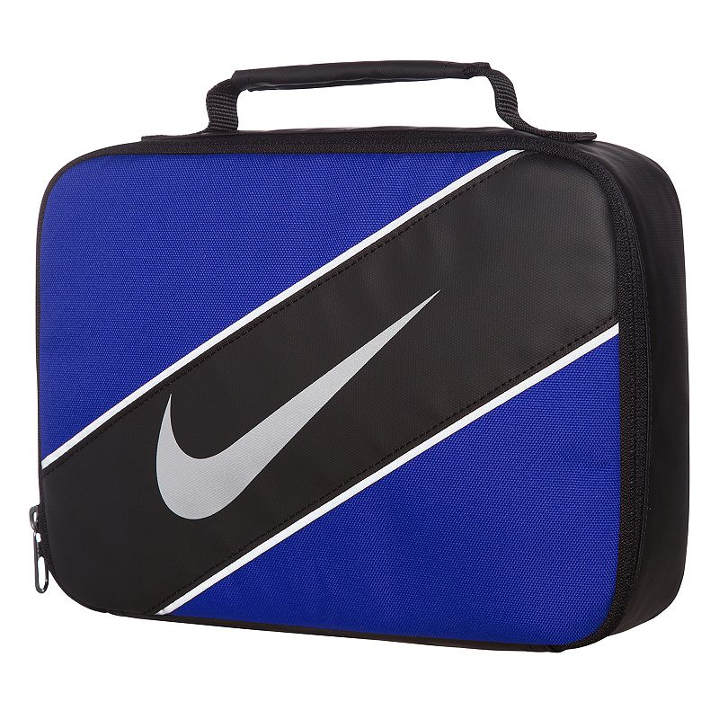 Nike Reflect Lunch Tote, Blue Grab and go with this Nike lunch tote, so your lunch goes wherever you need it to. Insulated main compartment keeps items hot or cold Padded handle 7.5 H x 10 W x 3 D Weight: 0.4 lbs. Polyester, Peva Model no. 9A2663A Size: Onesize. Color: Blue. Gender: Unisex.
