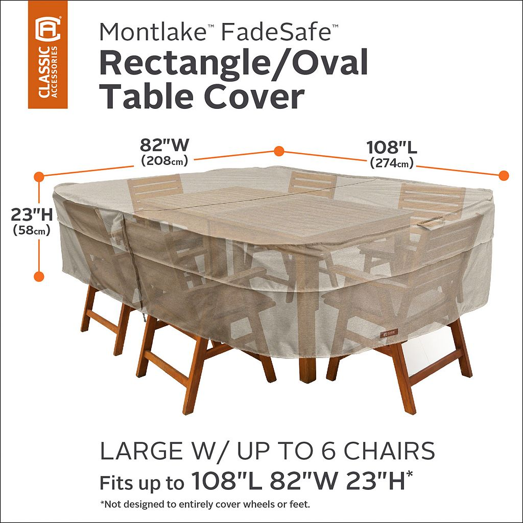 Montlake Large Rectangular or Oval Patio Table & Chairs Cover