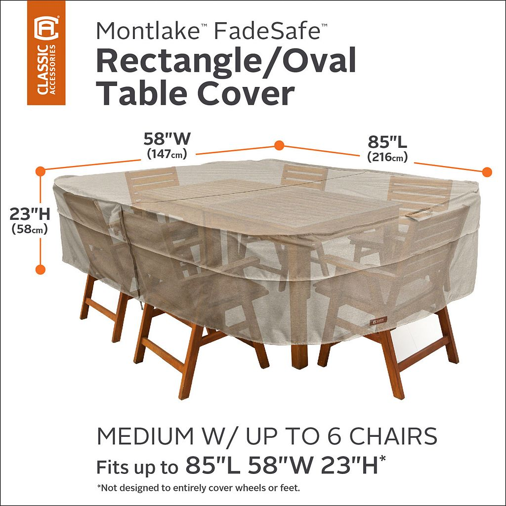 Montlake Medium Rectangular or Oval Patio Table & Chairs Cover