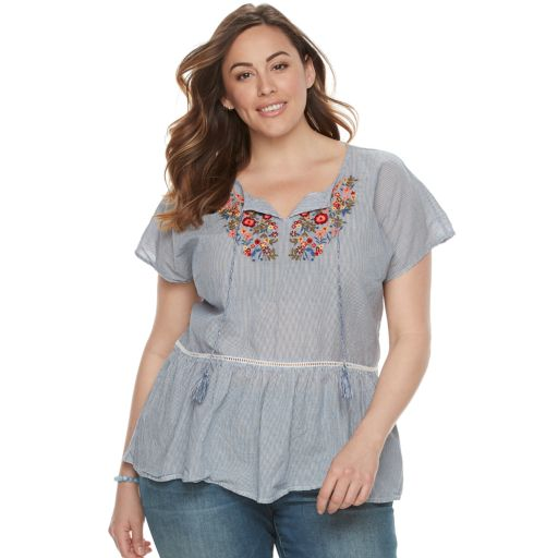 Plus Size SONOMA Goods for Life™ Embroidered Peplum Top