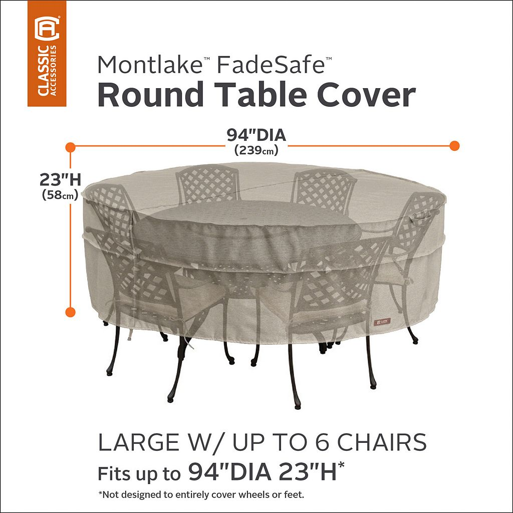 Montlake Large Round Patio Table & Chairs Cover