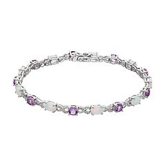 Sterling Silver Gemstone & Diamond Accent Infinity Bracelet