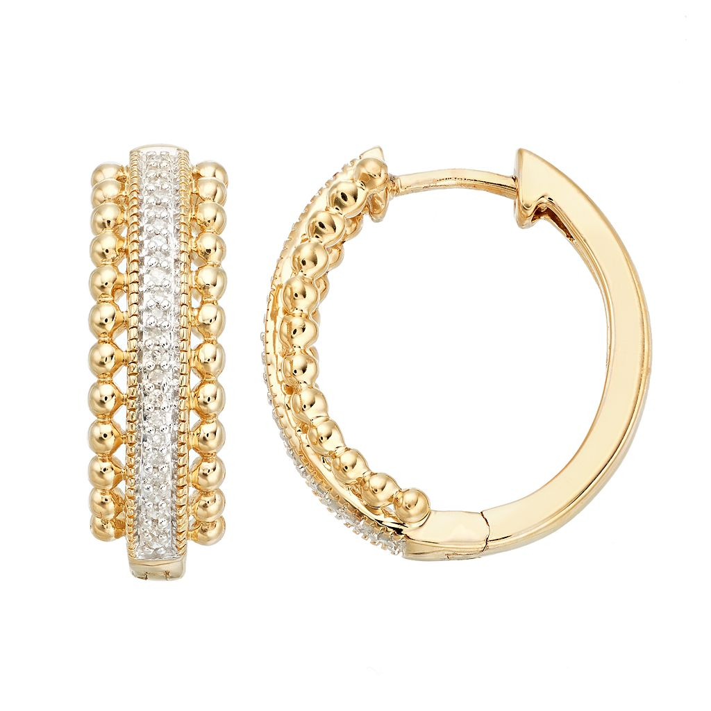 Gold Tone Sterling Silver Diamond Accent Bead Hoop Earrings
