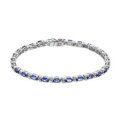 Sterling Silver Lab-Created Sapphire & Diamond Accent Bracelet