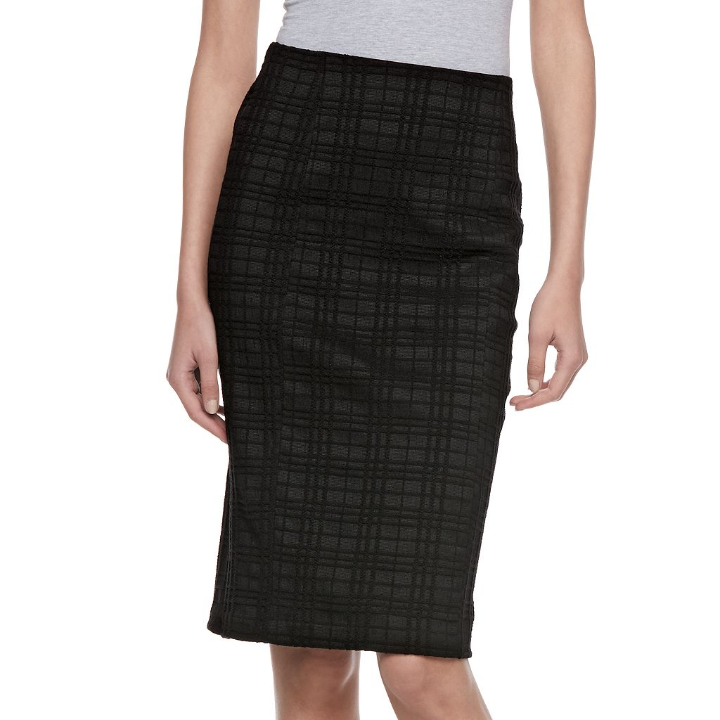 Women's ELLE™ Plaid Pull-On Pencil Skirt