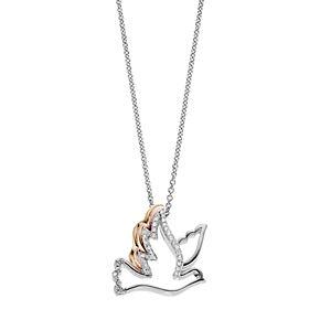 Tri Tone Sterling Silver 1/10 Carat T.W. Diamond Dove Pendant