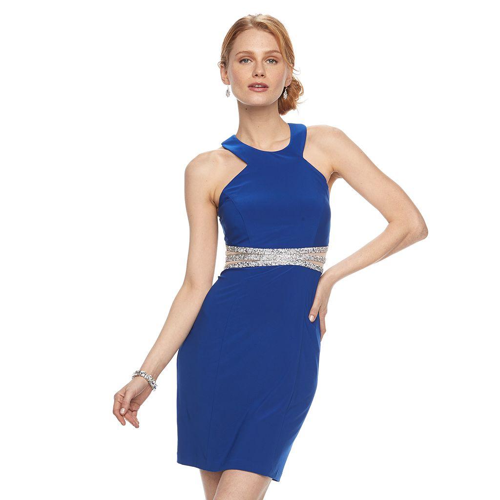 Women's 1 by 8 Embellished Mesh Halter Dress