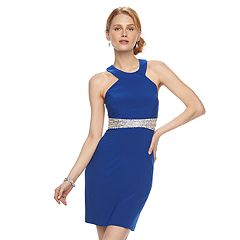 Women's 1 by 8 Embellished Mesh Halter Dress