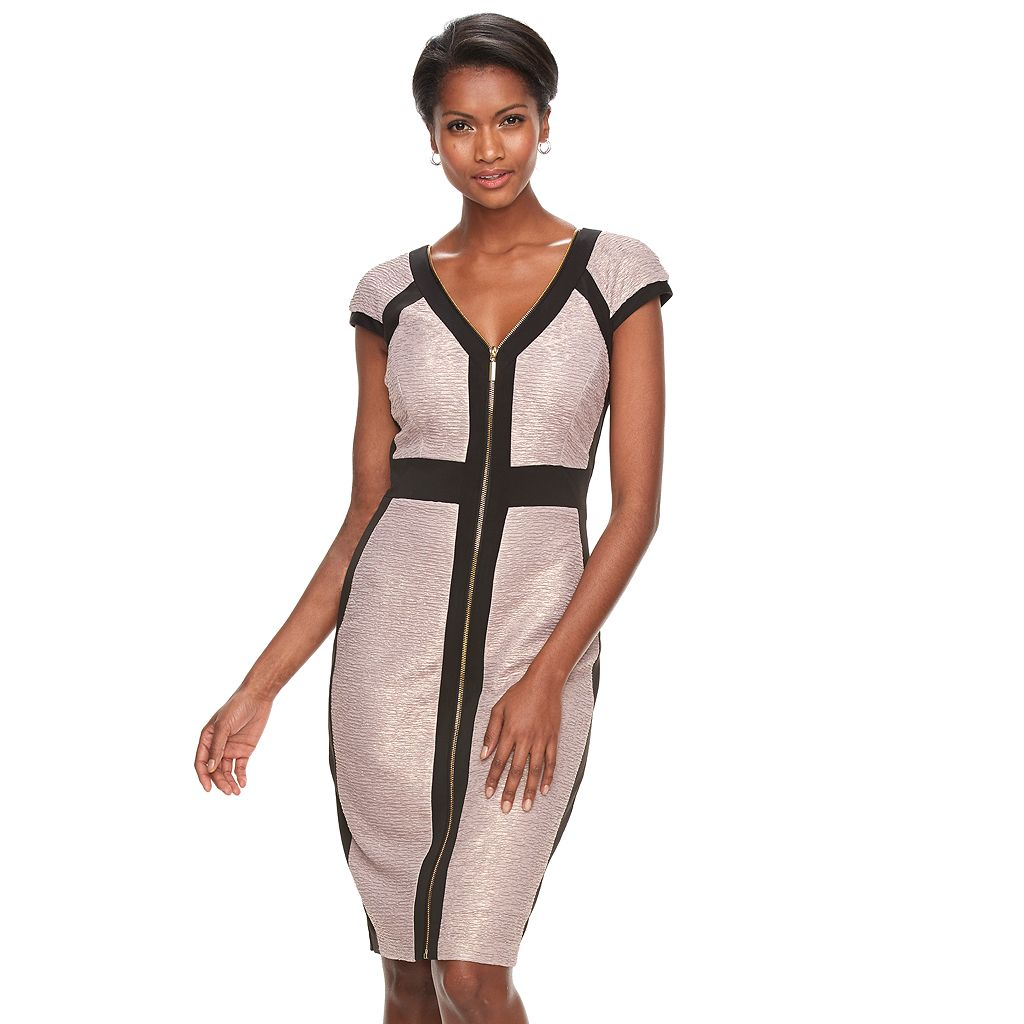 Women's Jax Colorblock Zip-Front Sheath Dress