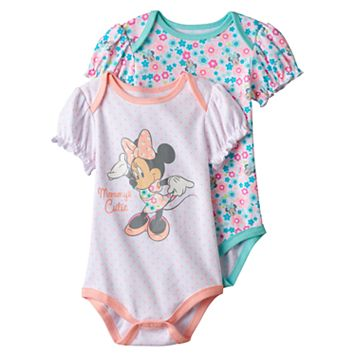 Disney's Minnie Mouse Baby Girl 2-pk. Print & Graphic Bodysuits