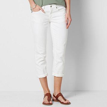 Women's SONOMA Goods for Life™ Cuffed White Capri Jeans