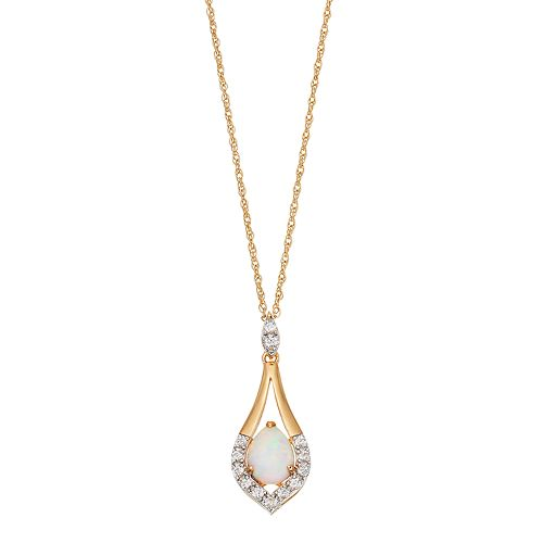 Gold Tone Sterling Silver Lab-Created Opal & White Sapphire Teardrop Pendant