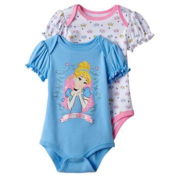 Disney's Cinderella Baby Girl 2-pk. Graphic & Print Bodysuits
