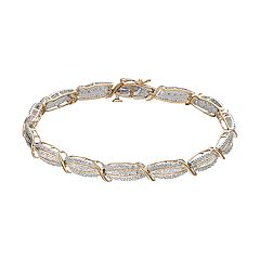 14k Gold Over Silver 1/2 Carat T.W. Diamond Multi Row Bracelet
