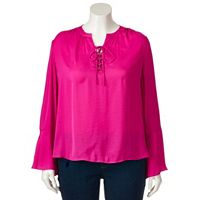 Plus Size Jennifer Lopez Lace-Up Blouse