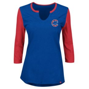 Plus Size Majestic Chicago Cubs Raglan Tee