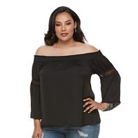 Plus Size Jennifer Lopez Crochet Off-the-Shoulder Top