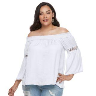 Plus Size Jennifer Lopez Crochet Off-the-Shoulder Top