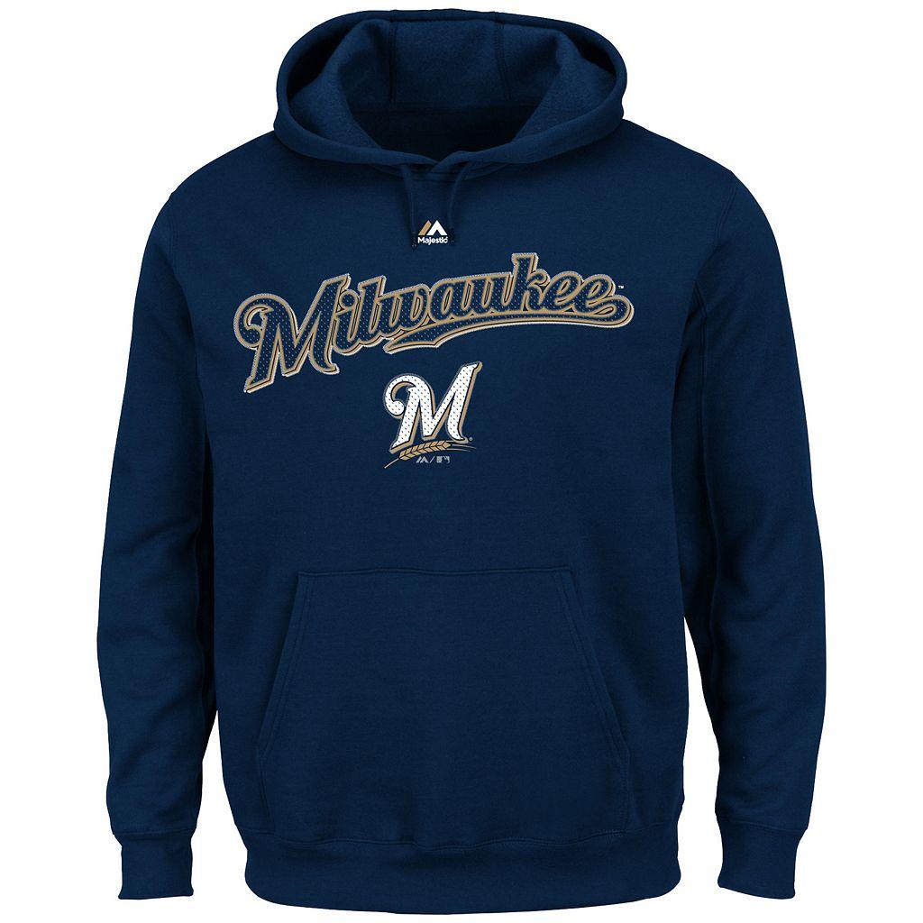 Big & Tall Majestic Milwaukee Brewers Wordmark Hoodie