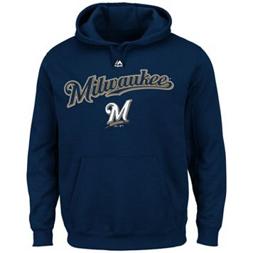 Big & Tall Majestic Milwaukee Brewers Wordmark Hoodie