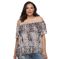 Plus Size Jennifer Lopez Pleated Cold Shoulder Top