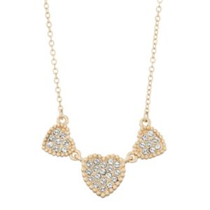 Brilliance Triple Heart Necklace with Swarovski Crystals