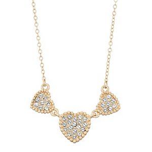 Brilliance Triple Heart Necklace with Swarovski Crystals