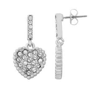 Brilliance Heart Drop Earrings with Swarovski Crystals
