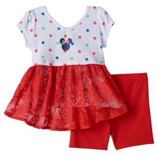 Disney's Minnie Mouse Baby Girl Lace-Back Tee & Bike Shorts Set