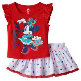 Disney's Minnie Mouse Baby Girl Tee & Polka-Dot Skort Set