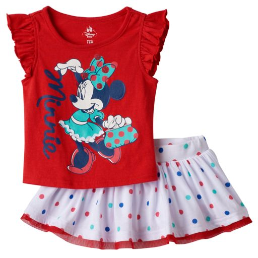 Disney's Minnie Mouse Baby Girl Tee & Polka-Dot Skort Set