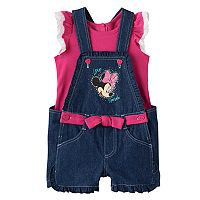 Disney's Minnie Mouse Baby Girl Flutter Tee & Graphic Denim Shortalls Set