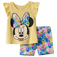Disney's Minnie Mouse Baby Girl Graphic Tee & Floral Bike Shorts Set