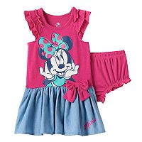 Disney's Minnie Mouse Baby Girl Graphic Chambray Dress & Bloomer Set