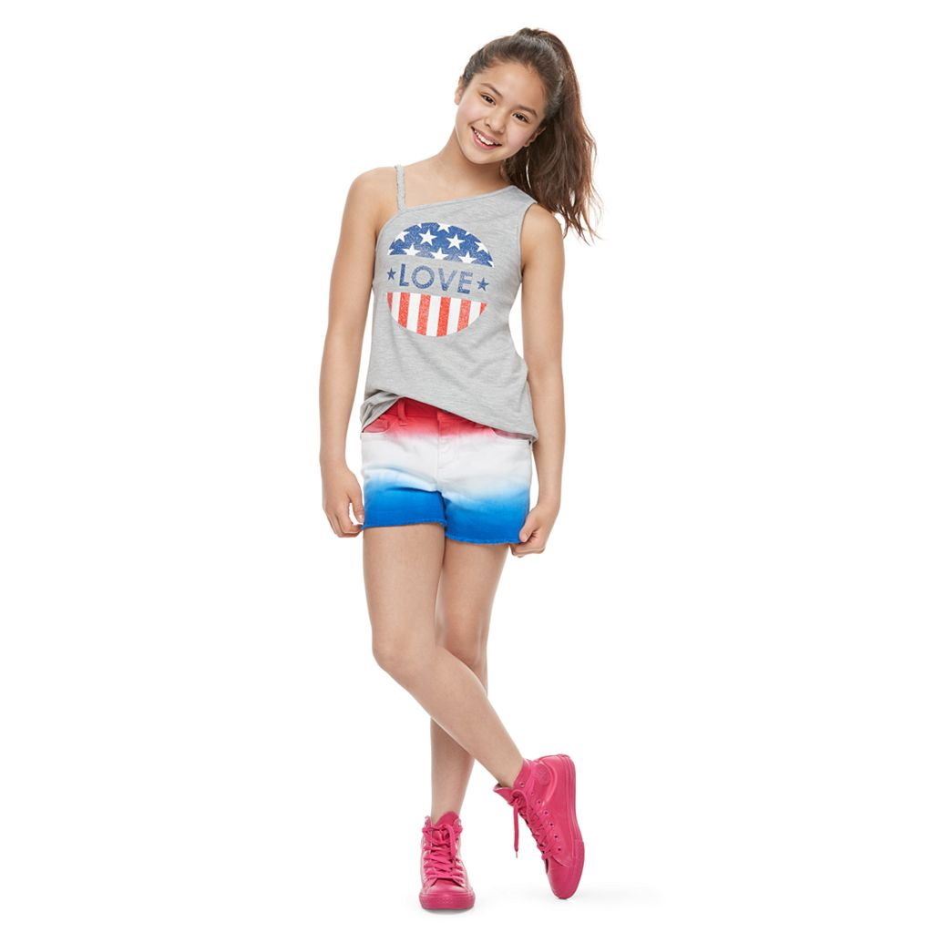 Girls 7-16 & Plus Size SO® One Shoulder Asymmetrical Americana Top