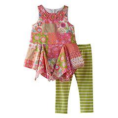 Baby Girl Rare Editions Floral Handkerchief-Hem Tunic & Striped Leggings Set