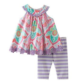 Baby Girl Rare Editions Paisley Swing Top & Striped Leggings Set