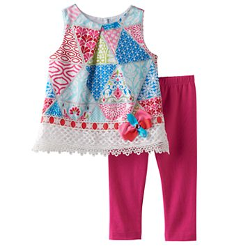 Baby Girl Rare Editions Geometric Tunic & Solid Leggings Set