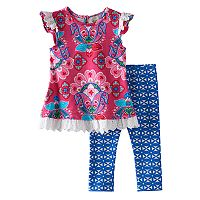 Baby Girl Rare Editions Paisley Eyelet Tunic & Kaleidoscope Leggings Set